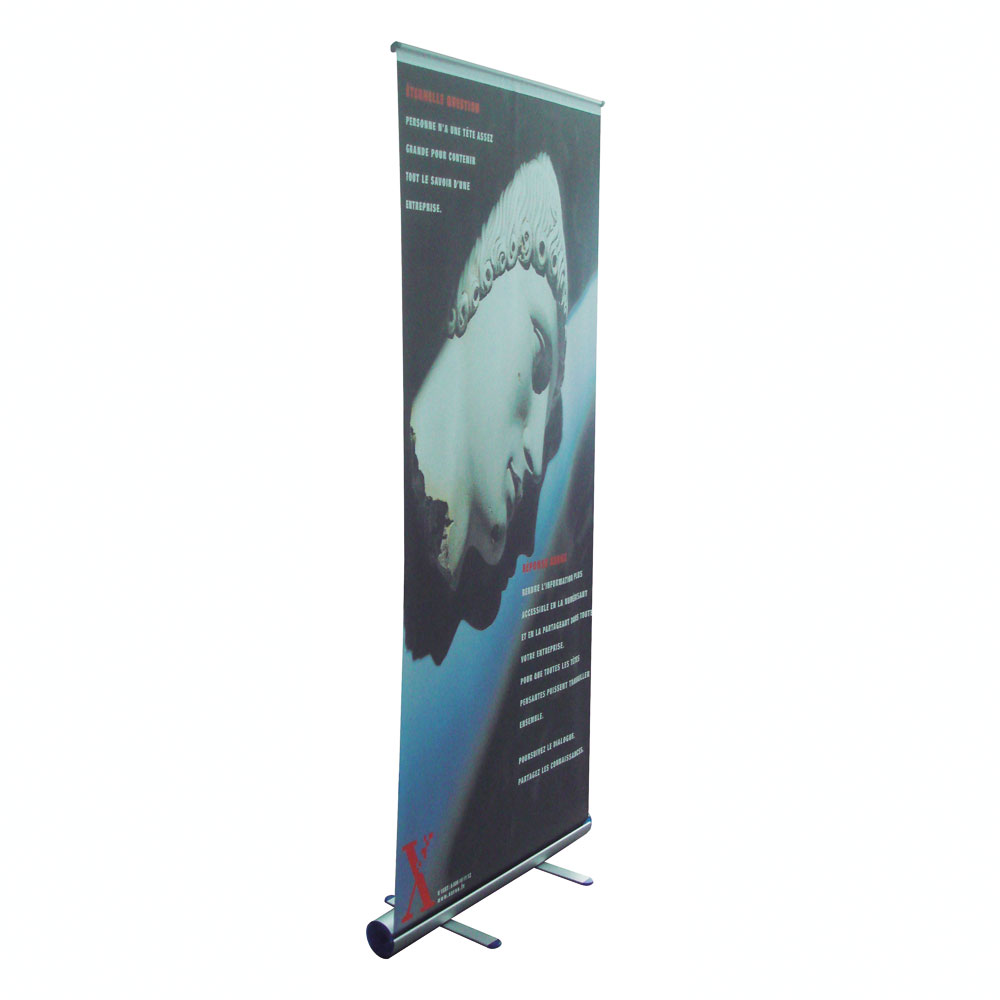 Economy Round Base Roll Up Banner Stand 33 Quot W X 79 Quot H