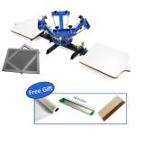 4 Color 2 Station Silk Screen Printing Machine 4-2 Press DIY T-Shirt Printing+6pcs Aluminum Screen Printing Frame