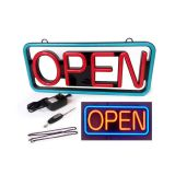 "21""x 10"" Lighted LED ""OPEN"" Neon Sign Rectangular-Red & Blue"