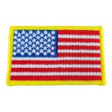 "12PCS American Flag Yellow Border Embroidery Iron on Sew on Tactical Patch 3.35"" x 2"""