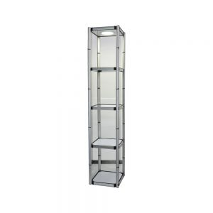 "81.1"" Square Portable Aluminum Spiral Tower Display Case with Shelves, Top light and Clear Panels"