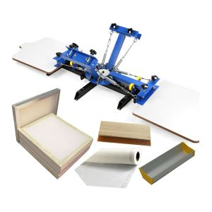 CALCA 4 Color 2 Station Silk Screen Printing Machine 4-2 Press DIY&20x24 inch Aluminum Screen with 110 White Mesh