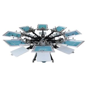 CALCA 8 Color 8 Station Manual Screen Printing Press, with Micro Registration