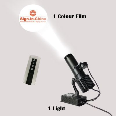 30W Indoor Black Remote Control LED Gobo Projector Advertising Logo Light (with Custom Rotating Glass Gobos)